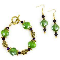 Queen Sylvia Mardi Gras Earrings- Show off your purple, green, and gold!