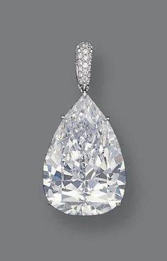 Unnamed  56.03-carat D-color Internally Flawles pear-shaped diamond, set in a platinum pendant with smaller diamonds, by evangeline