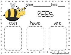 Insects...can, have, are tree worksheet. I love these charts!