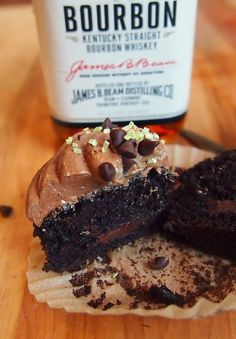 Dark Chocolate Whiskey Cupcakes | Community Post: 10 Cupcakes That Will Get You Drunk #cupcakes #cupcakeideas #cupcakerecipes #food #yummy #sweet #delicious #cupcake