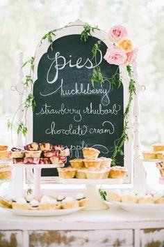chalkboard pie table sign http://www.weddingchicks.com/2013/11/25/national-park-wedding/