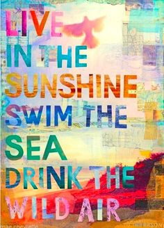 Live in the sunshine. Swim the sea. Drink the wild air. (And do beautiful!)