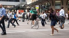 When cyclist and pedestrian worlds collide.
