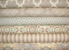 Baby Bedding Crib Quilt and Crib Skirt Bumper Pads  Grey and  White Pink BlueToddler Blanket Set. $240.00, via Etsy.