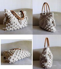 Crochet Jute celebrity style handbag with genuine by MyNicePurses