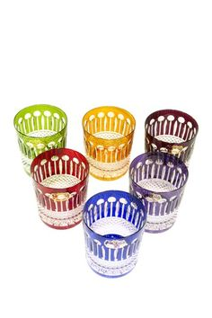 Yvan Assorted Color Crystal Whiskey Glasses - Set of 6 by Laguiole Cutlery