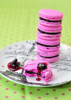 Chocolate Cherry French Macarons - Italian Meringue Method