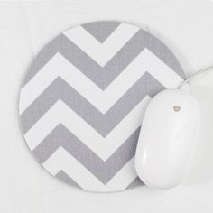 Chevron Mouse Pad / Gray and White / Home Office Decor / Zig Zag / Premier Prints