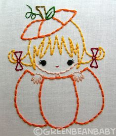 Pumpkin girl, Apple boy, Acorn girl Fall Friends Autumn Halloween Digital Embroidery Patterns. $3.50, via Etsy.