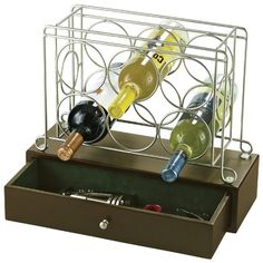 $110.60 Howard Miller Wine Caddy I -- Notes: felt-lined drawer at bottom to keep wine accessories in. holds 6 bottles.