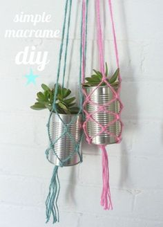 plant hangers, plant holders, recycled cans, macrame, hanging plants, macram diy, tin cans, hanging planters, simpl macram