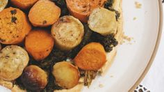 Jenni Kayne and Nathan Turner throw a gorgeous Easter brunch // Roasted yam and kale upside-down tart #recipe