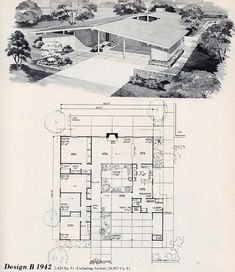 Cool mid-century modern floorplan with atrium