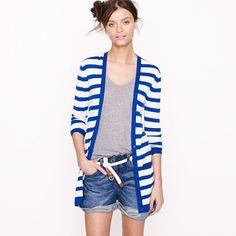 Featherweight cashmere stripe cardigan   J. Crew