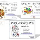 Three simple turkey counting activities for your math work stations, working on numbers 1 to 10.  In the first activity, count the number of feathe...