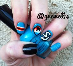 Go Sharks!  These are my San Jose Sharks nails!