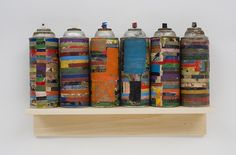 Lance Letscher, Modern Landscape 2010, Collage on spraypaint can on shelf
