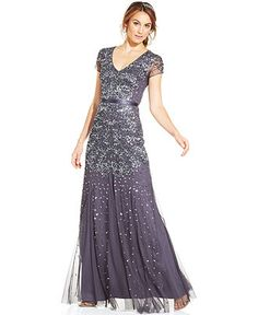Adrianna Papell Cap-Sleeve Embellished Gown - Dresses - Women - Macy's $299