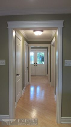 Crown moulding, door casings, door headers and baseboard. I like the look of the blond hardwood floors with the painted walls & white trim/crown molding. Plus it's a nice wall color.