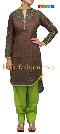 Buy it now  http://www.kalkifashion.com/brown-suit-with-dori-and-resham-work.html  Brown suit with dori and resham work