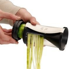 Turns any veggie into spaghetti: zucchini, squash, carrots etc. has good reviews on amazon. Neat little kitchen gadget and great for lo carb living. NEED THIS
