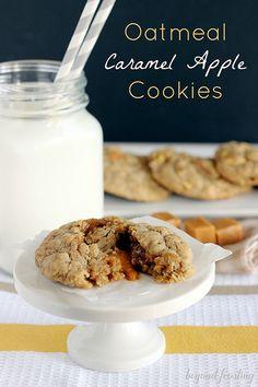 Oatmeal Caramel Apple Cookies   beyondfrosting.com   #caramel #apple #cookies
