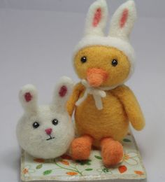 Needle felt bunny and duck (tutorial) by Living Felt needle felted animals, felt chick, felt cheep, easter crafts, craft projects, felt tutori, felting tutorials, needl felt, cheep tutori