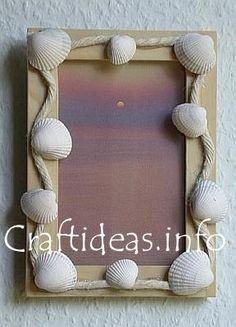 Seashell Frames sea shell, seashell crafts, beach, picture frames, seashel craft, pictur frame, seashel pictur, craft ideas, crafts seashells