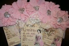 """Paper Cowgirl Silk Corsage """"Antique"""" Invitations"""