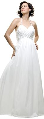 Effortless Ivory Gathered Romantic Wedding Gown with Beaded Halter - $99 Sale (9/5)
