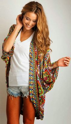 Colorful oversized kimono cardigan with white and denim cover up, jean shorts, kimono, sweater, fashion, style, color, outfit, clothes idea