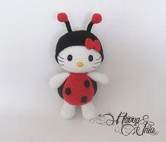 Crochet-Hello Kitty in Ladybug Costume (Colourful Crochet, Amigurumi) $6.00