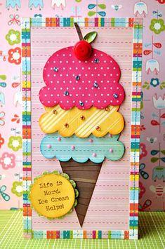 Layout idea layout idea, scrapbook layouts, summer cards, paper, happy colors, kid birthdays, cherries, kids birthday cards, ice cream cones