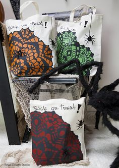 DIY Halloween Trick or Treat Canvas Bags with stencils from Royal Design Studio