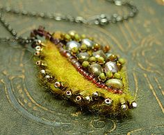 felt leaf pendant II  from humblebeads