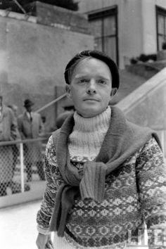 Truman Capote ice skating at Rockefeller Center, New York. Photographed by Alfred Eisenstaedt.