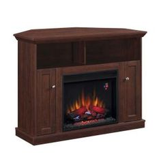 Hampton Bay Charles Mill 46 in. Convertible Media Console Electric Fireplace in Dark Cherry