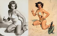 A series of comparisons between the classic pinup girls and photos that have served as models for achieving them