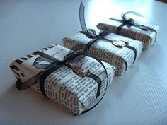 Use newspaper or photocopied book excerpts to wrap a book! How literal!