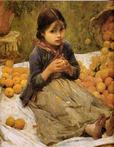 oil paintings, waterhous paint, orang gather, old school, art, children, oranges, john william waterhouse, gather detail