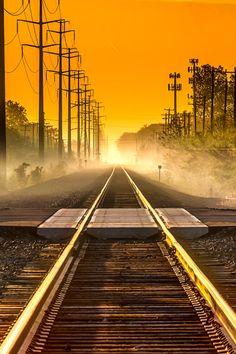 Railroad sunrise - Michigan, USA (by Kenneth Raymond on 500px)