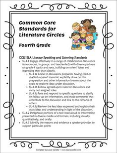 FREE Common Core Reference for Literature Circles - Packet includes all grade K-5 .....Follow for Free 'too-neat-not-to-keep' literacy tools  other fun teaching stuff :)