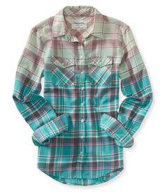 Long Sleeve Dip-Dye Plaid Shirt from Aeropostale