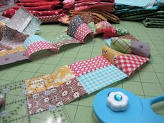 Row 1 of the Bee in my Bonnet Row Along...tutorial on easier way to make 4 patch blocks!