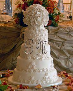 Elegant Wedding cake  Large rose ball topper, rose cascade accent.  For more information visit www.cakeglam.com rose cascad, visit wwwcakeglamcom, cake larg, ball topper, rose ball, wedding cakes, larg rose, glam cake, cake glam