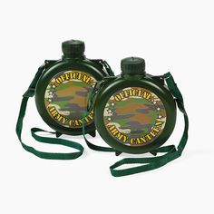 Camouflage Canteens. Gather your troops for a hike and take along these fun camouflage canteens! A great idea for camp, field trips and outdoor events where kids need to stay refreshed! Each plastic canteen includes a nylon strap. 15 oz. © OTC