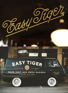 Land shop, letter, beer garden, easi tiger, tigers, script, type, design, typographi