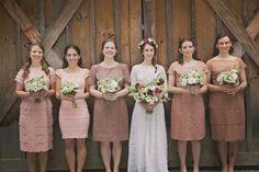 nude + rose colored bridesmaid dresses