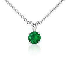 Dreamy! Emerald Solitaire Pendant in 18k White Gold | #Necklace #Emerald #Jewelry