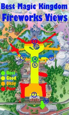 Map of the best Magic Kingdom Fireworks View (plus sample photos from those locations in the blog post)